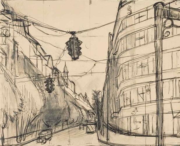 Uhlandstrasse, Berlin 1933-5 drawing by Martin Bloch