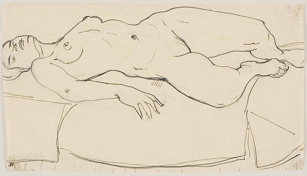 Reclining Nude 1934 drawing by Martin Bloch