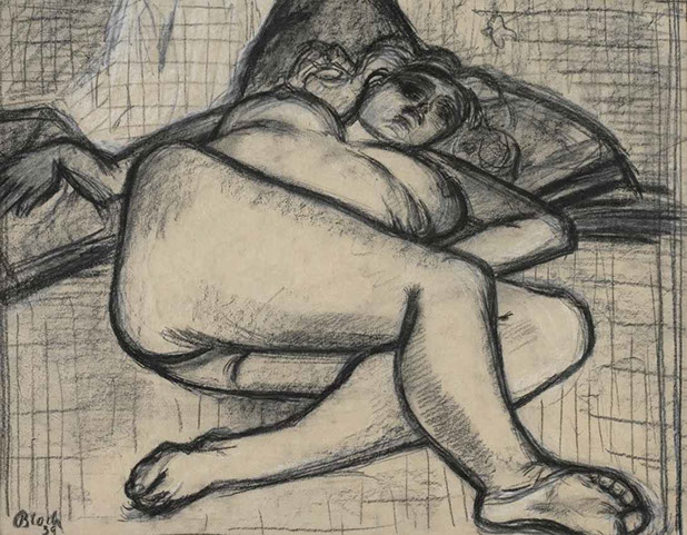 Reclining Nude on Cushion 1939 drawing by Martin Bloch