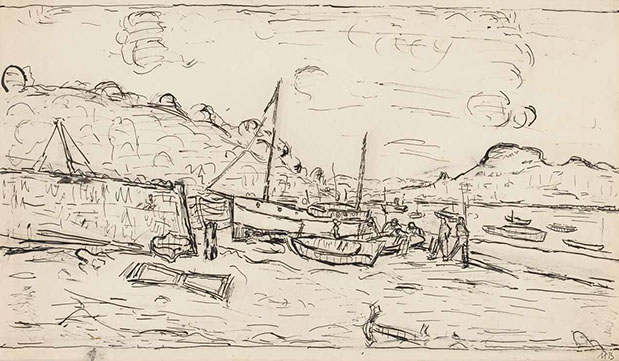 Boats, Normandy 1939 drawing by Martin Bloch