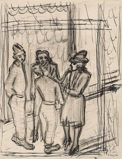 Internment Camp, Douglas, Isle of Man (Figure Group) drawing by Martin Bloch