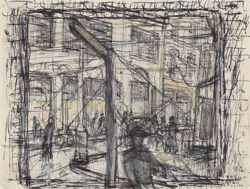 Internment Camp, Douglas, Isle of Man (Through the Wire) drawing by Martin Bloch