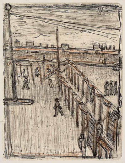 Internment Camp, Sefton, Isle of Man 1940 drawing by Martin Bloch