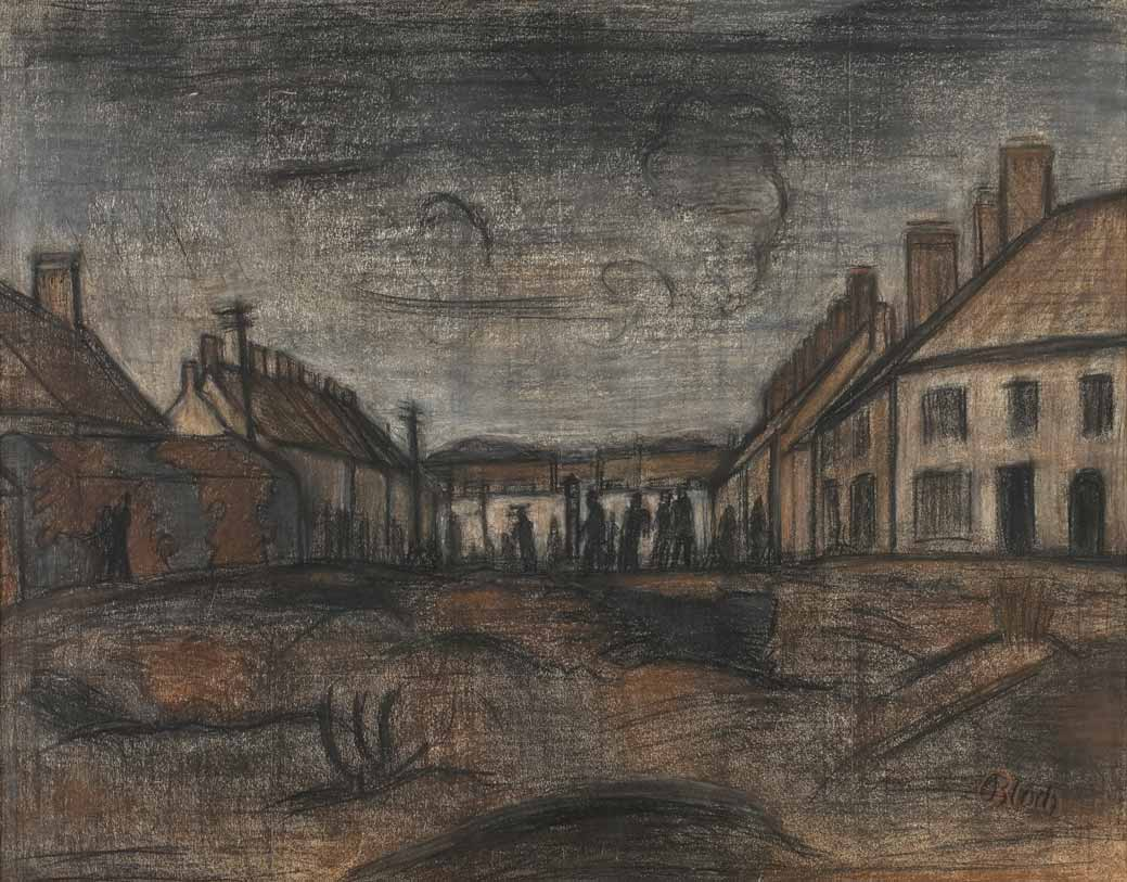 Internment Camp, Huyton 1940 drawing by Martin Bloch