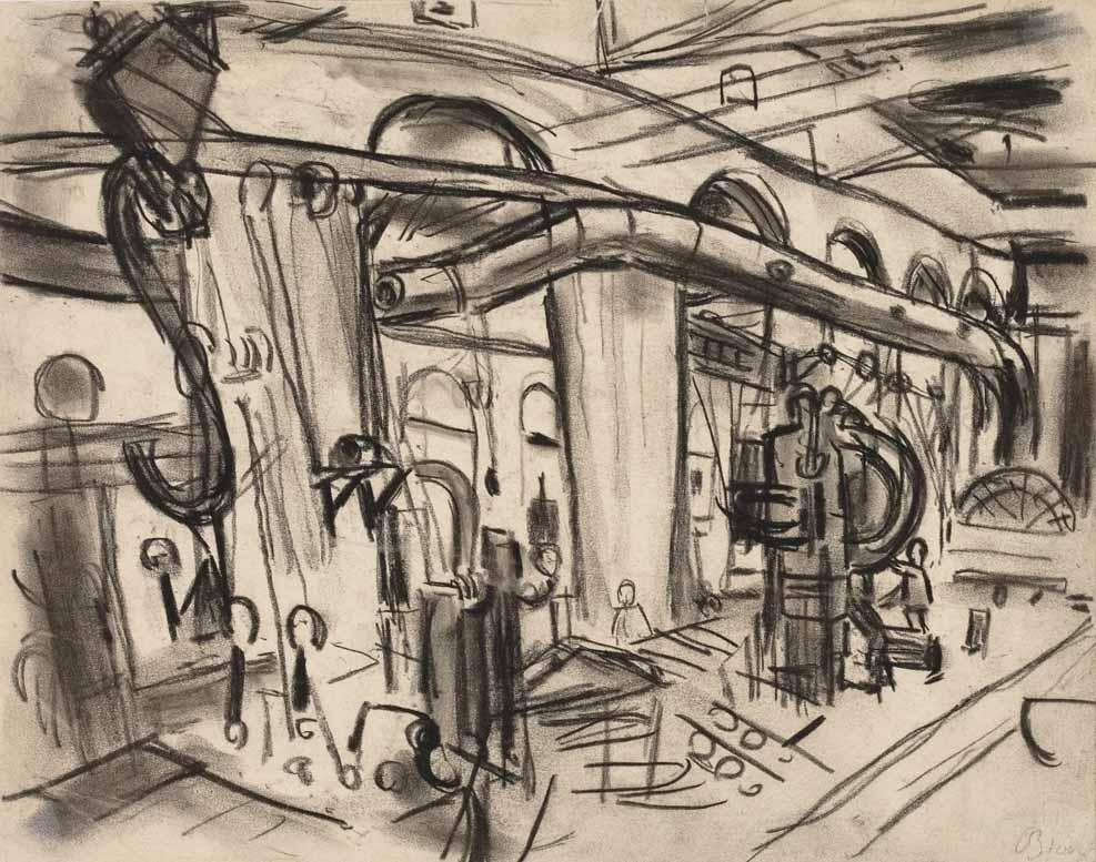 Inside Ocean Liner on Atlantic Crossing 1948 drawing by Martin Bloch
