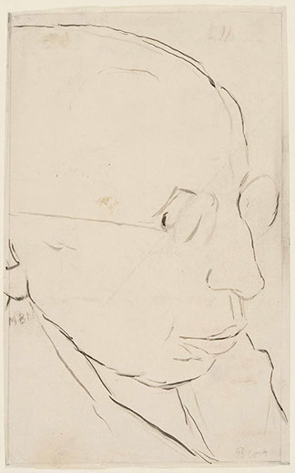 Portrait of Max Hermann Pre 1920 drawing by Martin Bloch