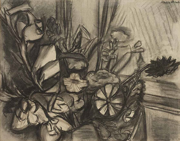 Still Life with Flowers 1921 drawing by Martin Bloch