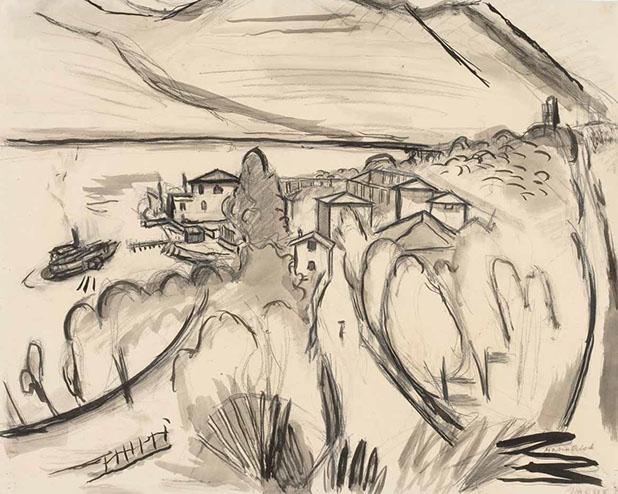 Garda, Italy 1925 drawing by Martin Bloch