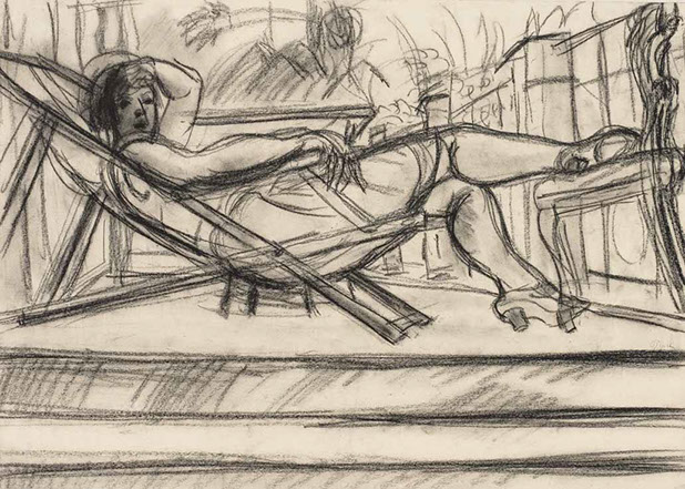 Lotte at Casa Rigo 1926 drawing by Martin Bloch
