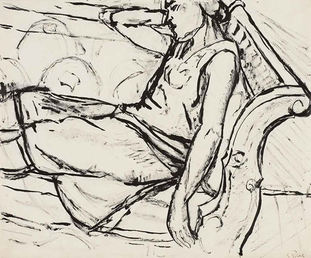 Reclining Figure (Arancia), Italy 1928 drawing by Martin Bloch