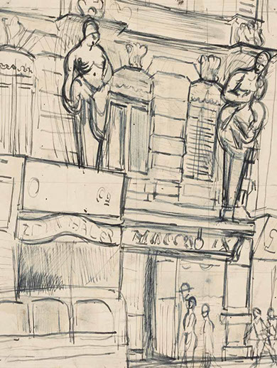 Friedrichstrasse, Berlin 1931 drawing by Martin Bloch