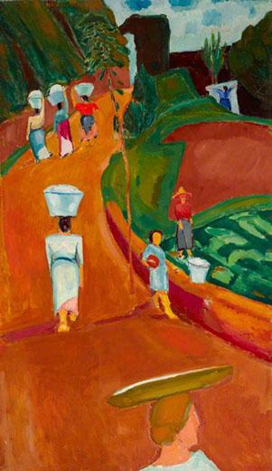 Basque Washerwomen 1914 painting by Martin Bloch