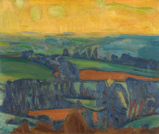 Blackmore Vale Against the Sun 1946 painting by Martin Bloch