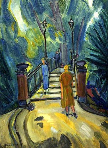 Bridge in Tiergarten, Berlin 1920 painting by Martin Bloch
