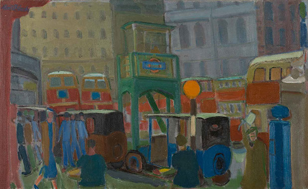Buses at Victoria Station 1935 painting by Martin Bloch