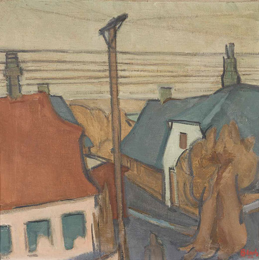 Danish Village with Telegraph Poles 1936 painting by Martin Bloch