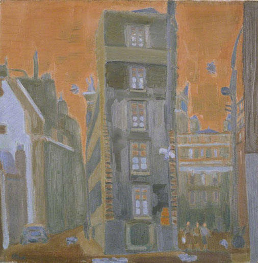 Fog in Mayfair Mews 1943 painting by Martin Bloch