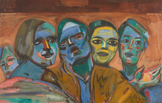 Four Heads 1938 painting by Martin Bloch