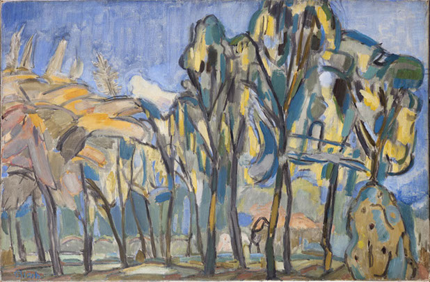 Laburnum and May Trees 1941 painting by Martin Bloch