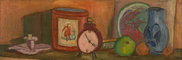 Mantelpiece with Clock and Candle 1936 painting by Martin Bloch