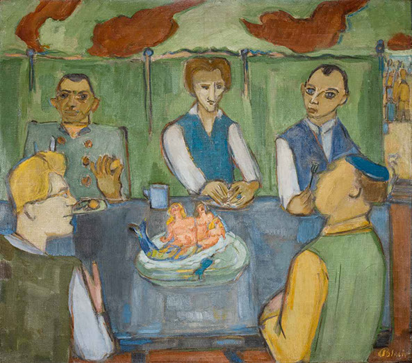 Miracle in the Internment Camp 1940 painting by Martin Bloch