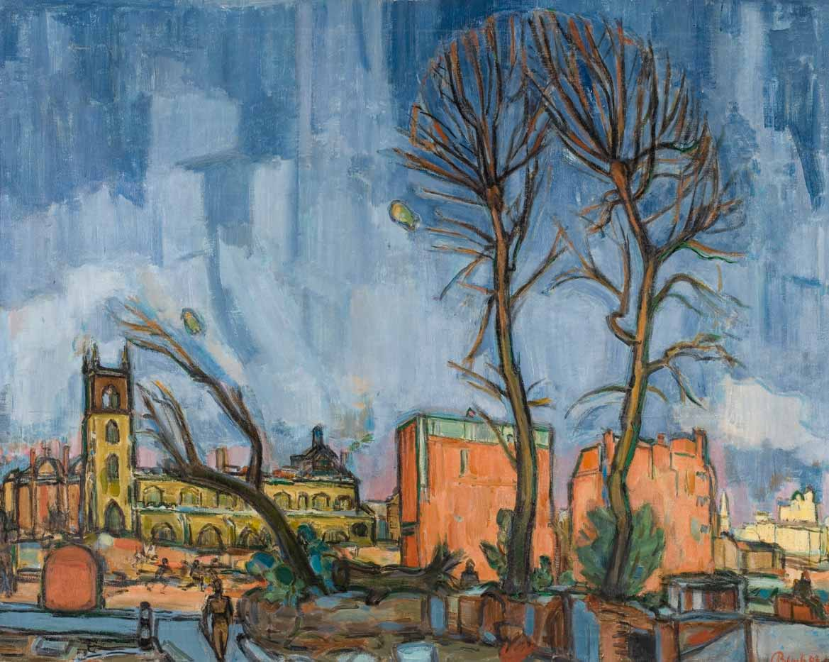 Scorched Trees 1943 painting by Martin Bloch