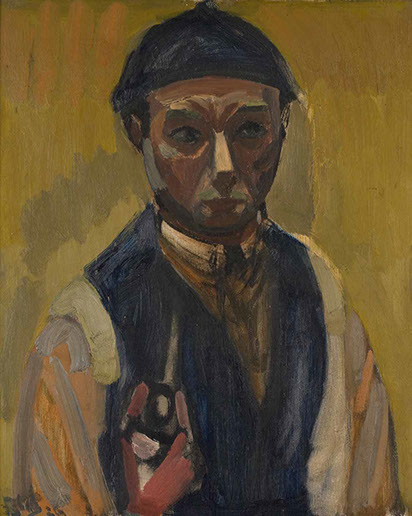 Self-Portrait with Pipe 1926 painting by Martin Bloch