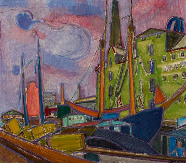 Svendborg Harbour, Denmark 1934 painting by Martin Bloch