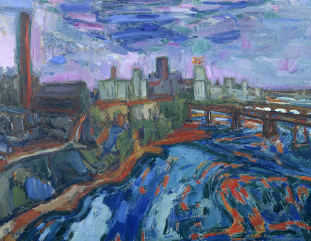 The Mississippi at Minneapolis 1948-50 painting by Martin Bloch