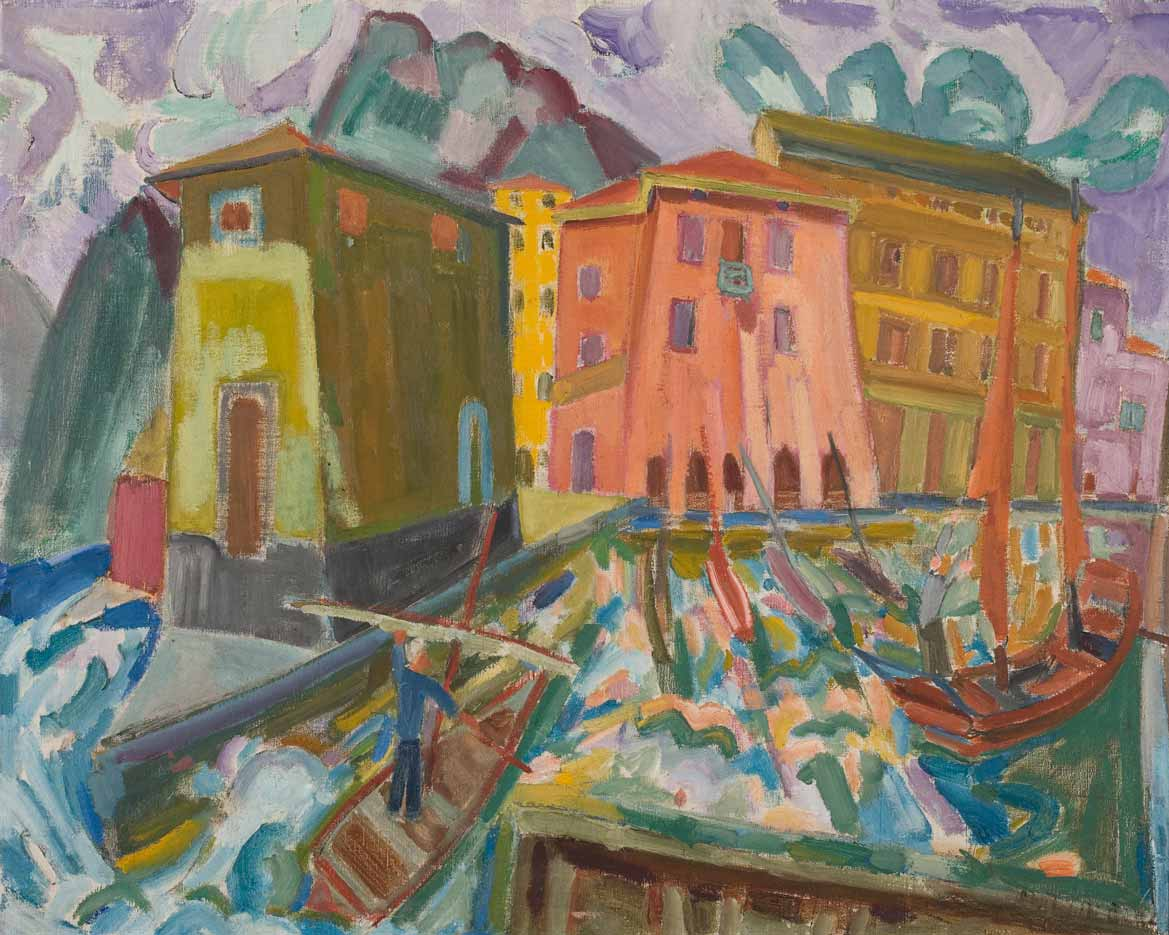 Torbole Harbour, Lago di Garda 1924 painting by Martin Bloch